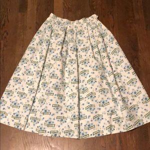 "Vintage Summer Cotton Floral Skirt Waist 24"""